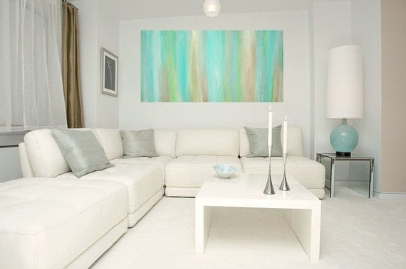 "RESERVED for a Client. Aqua Original Abstract Acrylic Painting Fine art on Gallery Canvas Titled: JUST A WHISPER 24x48x1.5"" by Ora Birenbaum"