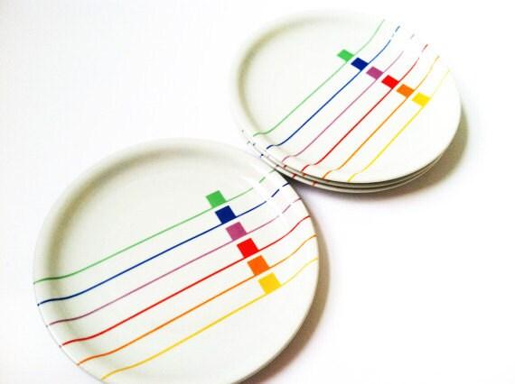 Vintage Plate Set Designer Dinnerware Geometric Pattern Free Shipping