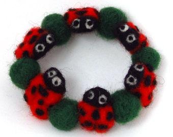 Ladybug bracelet, ladyird bracelet, felt jewelry, eco friendly, Needle felted beaded bracelet
