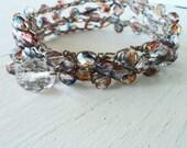 Crocheted Layered Necklace, Crocheted Layered Bracelet, Pink Blue Orange Wrap Bracelet, Beach Bracelet, Boho Bracelet, Bohemian Necklace