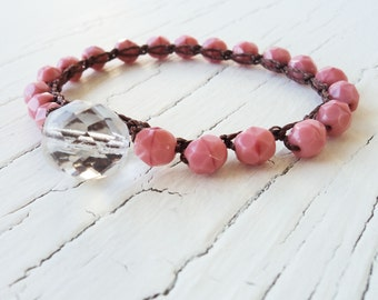 Pink Crochet Bracelet, Pink Coral Beaded Bracelet, Boho Bracelet, Bohemian Jewelry, Beach Bracelet, Sufer Girl Jewelry, Crocheted Jewelry