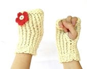 Cream Fingerless Gloves with red flowers, unbleached wool.