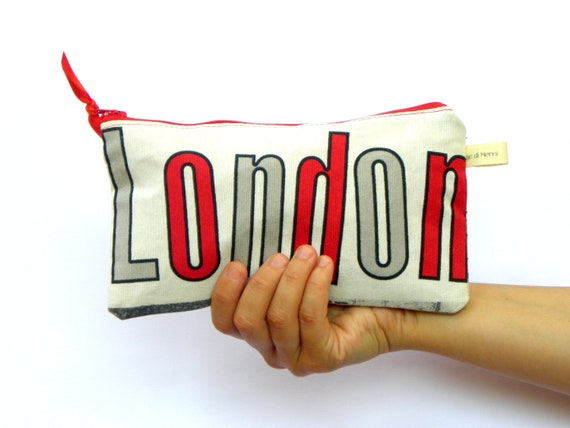 London Clutch, Cosmetic Purse, Make up Pouch, Red and Gray , Cosmetic Bag