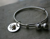 Hand Stamped Toddler  Bangle Bracelet with bells