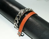 Women's Leather bracelet  high quality python print leather&skull metal 100% real  leather handmade bracelet