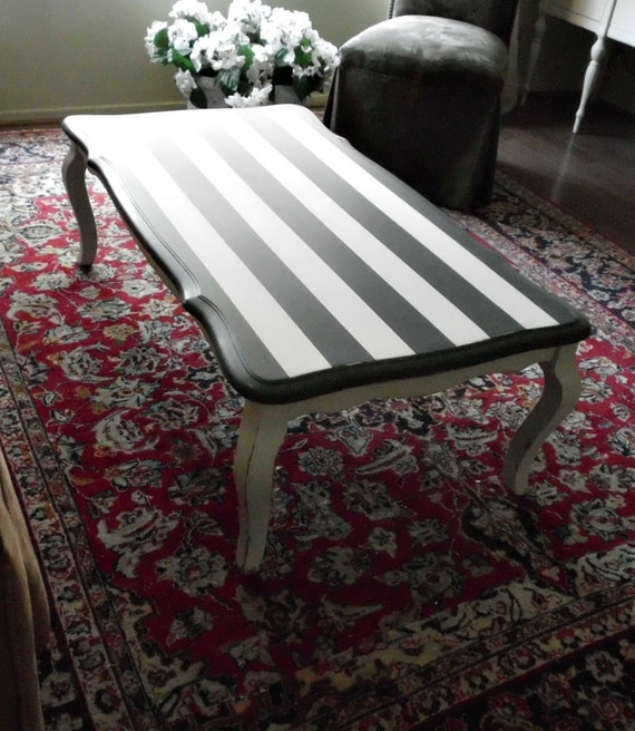 Black And White Striped Round Coffee Table: Black And White Stripe French Country Chic Rectangle Coffee