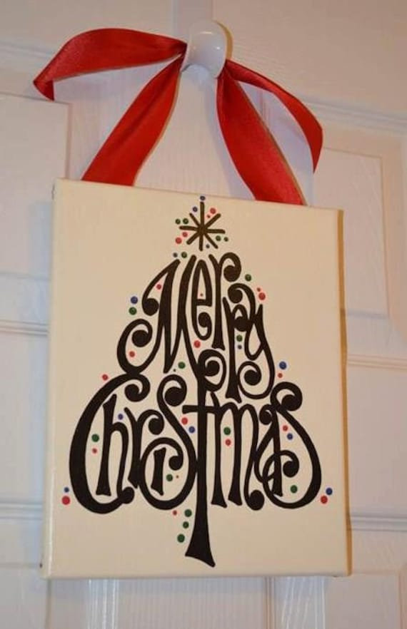 Hand painted merry christmas tree canvas sign for Christmas canvas painting ideas
