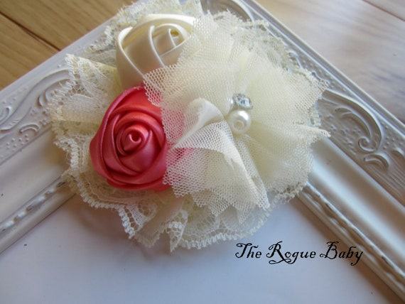 Coral  & Ivory Cream Hair Flower chiffon and satin. Wedding Bridal Flower Girl. Headband Photo Prop Toddlers Girls Women