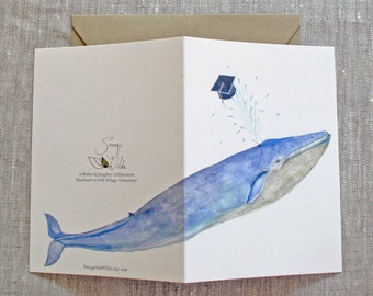 Blue Whale Graduation Card. Hats Off to the Graduate Greeting Card. Congratulations Card. Blue Whale Greeting Card. Graduation Card.