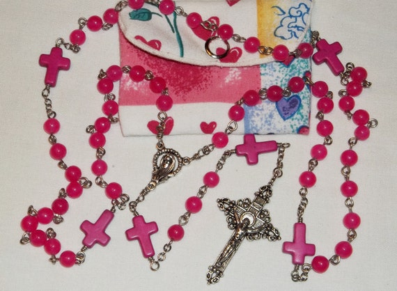 Pink Jade with Pink Turquoise cross 6mm Rosary, Handmade Catholic Baptism Rosary with pouch