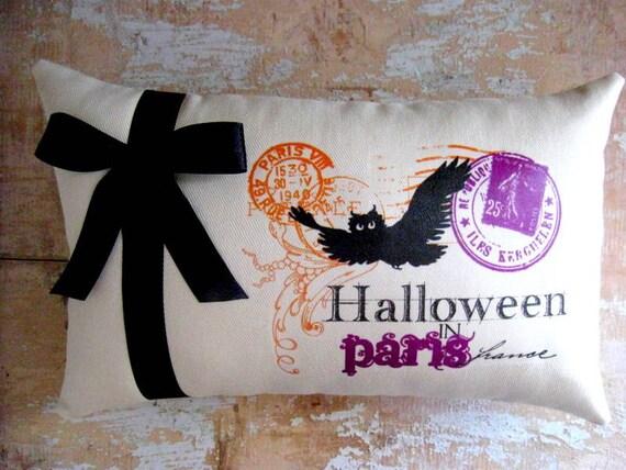 Halloween Pillow, Halloween Decor, Bat, Paris, French Decor, French Country Home, Cottage Decor, Home Decor,  Decorative Pillow, Housewares