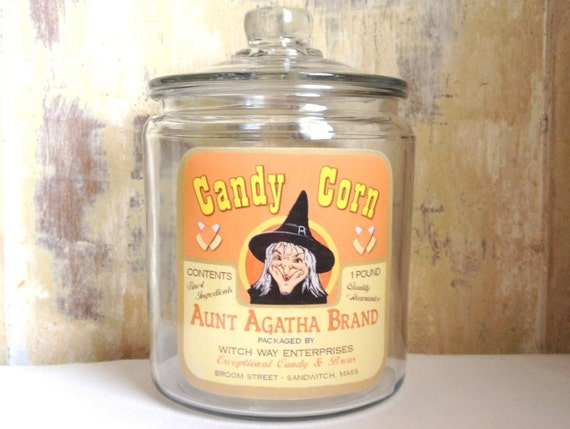 Halloween Jar, Decoration, Candy Corn, Witch, Apothecary, Cottage Decor, Home Decor, Housewares