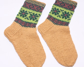 Pure natural organic wool SOCKS -  with decoration -  gift WRAPPING for FREE