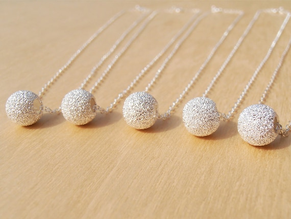 Silver Necklace & Stardust Bead - Bridesmaid Gifts, Wedding Jewellery, Everyday Jewellery - Sterling Silver