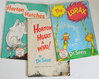Vintage Dr Seuss Lot of 3 Magazines, Soft Cover, Comics  from 1950 1960 1970 50 60 70. Coffee Table Books or for Framing! Horton & Lorax!