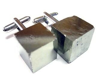 Pyrite Cube Cufflinks