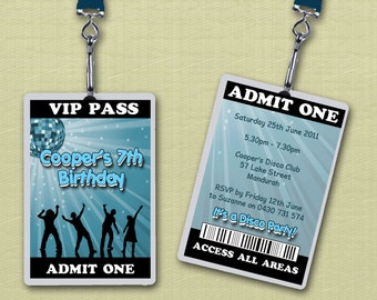 Personalised Disco VIP Lanyard Invitations x 10