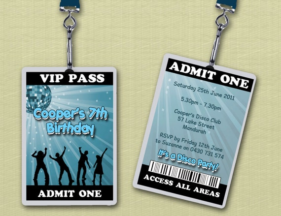 Personalised Disco VIP Lanyard Invitations x 10 by Deezee Designs