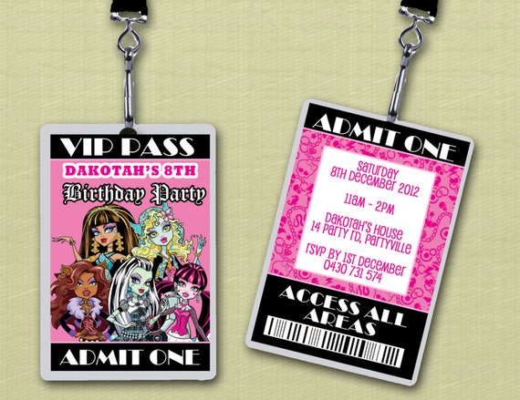 Personalised Monster High VIP Lanyard Invitations x 10