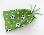 Soccer Birthday Bags / Soccer Party Favors / Fabric Goodie Bags / Goody Bags / Cloth Gift Bags / 6.25 x 9.5 inches / Set of 5