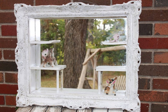 Antique Mirror Wooden Shadow Box Frame - Shabby chic Vintage Mirror - Ornate Wood Frame - Victorian Chic - Farmhouse chic