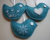 Felt Bird Christmas Ornaments - Set of 3