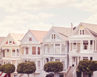 San Francisco Photography - Victorians Photo - Travel Photography - Painted Ladies - Houses - Fine Art Photography Print - Pastel Home Decor