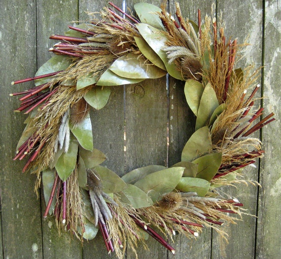 Autumn Twig Wreath - Waves of Grain - Red Osier Dogwood, Ornamental Grasses, Teasel & Eucalyptus