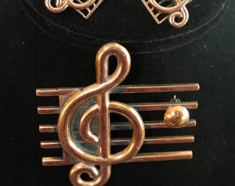 VIntage Copper Renoir Demi Parure - G Clef and Staff - Brooch and Earrings - 1950's