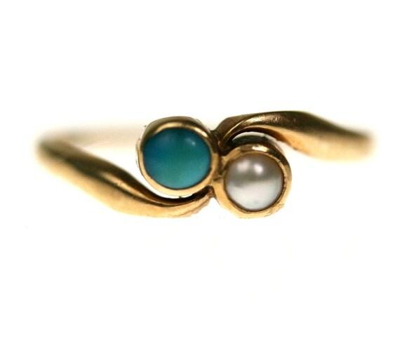 Edwardian Turquoise & Pearl Engagement Ring / 15k Yellow Gold 6.5