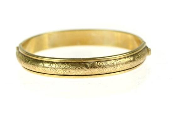 Edwardian / Art Deco 1920s Etched Floral Hinged Bangle Bracelet / Gold Fill