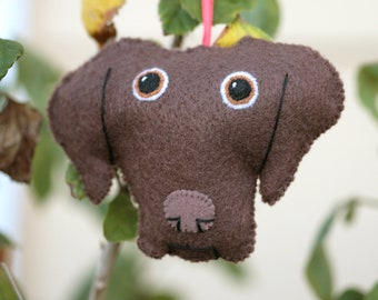 Cute Felt Chocolate Lab Dog Ornament