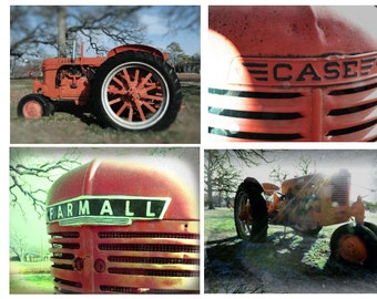 Tractor Phot Set, Tractor Grill Photos, Vintage Tractor Print Set, Red Tractor Print, Farm Equipment, Photos for Him
