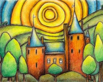 ACEO limited edition Castle Coch Wales fairytale castle, Welsh landscape, print of original drawing