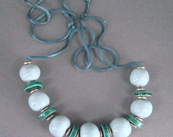 Statement Necklace, Mint Green Ceramic Pottery Bead, Hand Made on Forest Green Satin Cord, Vintage