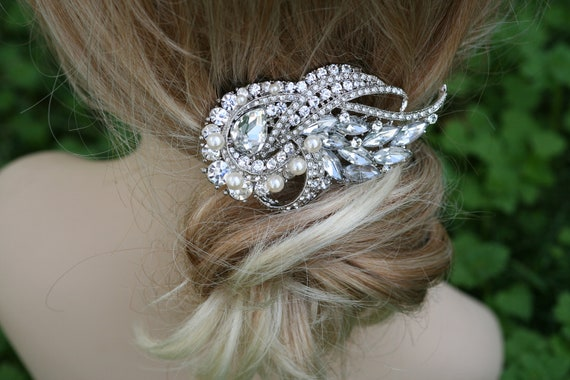 Crystal Hair Comb, Barrette, Swarovski comb, Hair Flower, Bridal comb, Hair Accessories, Wedding Jewelry, Unique Feather shape Bridal comb
