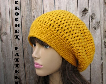 CROCHET PATTERN- Slouchy  Hat, Crochet Pattern PDF,Easy, Great for Beginners,  Pattern No. 34