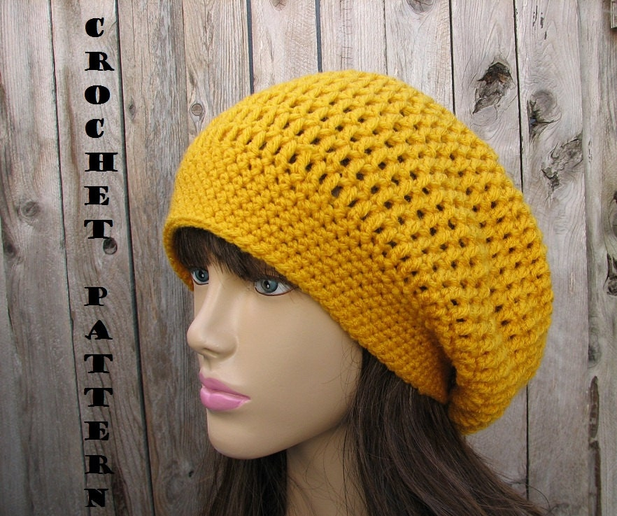 Beginner Crochet Patterns Beanie : CROCHET PATTERN Slouchy Hat Crochet Pattern PDFEasy Great