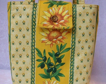 Insulated Lunch Tote - Provencal Handmade Designer Lunch Bag with Sunflowers & Olives - Lunch Sac in Yellow Country French Cotton Fabric