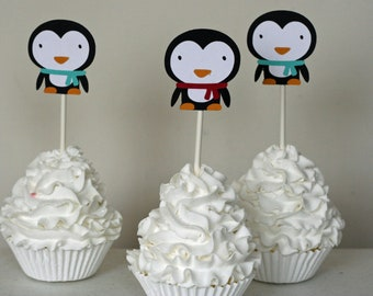 12 Penguin Cupcake Toppers Red and Teal/Aqua