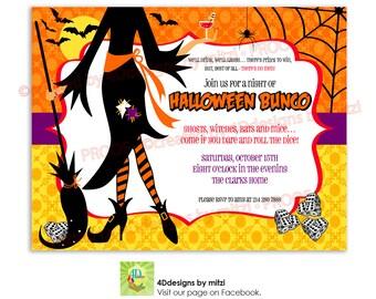 Halloween BUNCO party Invitation