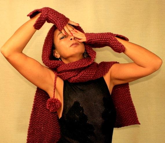 Maroon Knit Hooded Scarf Knit Hood Cowl Scarf Hood Infinity Scarf Elf Scoodie Pixie Hat Knit Hoodie Scarf Hood Scarf Winter Accessories