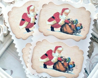 Santa Christmas Sticker Labels / Seals - Cottage Shabby Chic - Vintage Inspired - Set of 8  - Tags - Cupcake Toppers