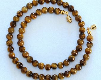 """Tiger Eye Necklace. 4mm 16""""  Brown Tiger Eye / Tiger's Eye Stone. Therapeutic. MapenziGems"""