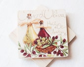 Wooden coasters - set of 2 - olive, olive oil, pastel, handmade, natural, organic, eco friendly, home decor