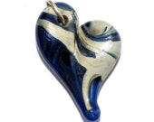 Heart Pendant Necklace Glass Jewelry Lampwork Hand Blown Boro blue with caramel accents