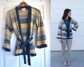 SALE - Blue Striped Tie Waist Sweater (Size Small)