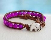 Purple... and Good Luck Leather wrap bracelet... Original OceanBead style.