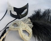 RESERVED FOR ALLISON -- Smothered Pearl and Swarovski Bride Mask and Leather Groom Masquerade Mask in Ivory and Black, Made to Order