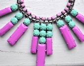 Hand Painted Deco-Style Rhinestone Necklace